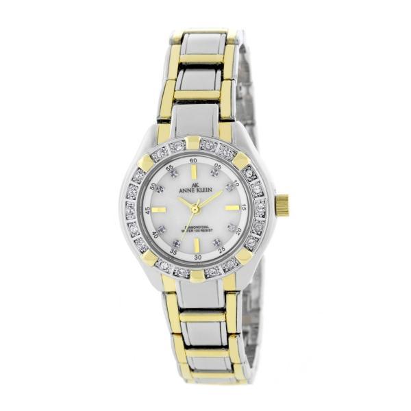 AK Anne Klein Womens Two Tone Swarovski Crystal Diamond Accent Watch