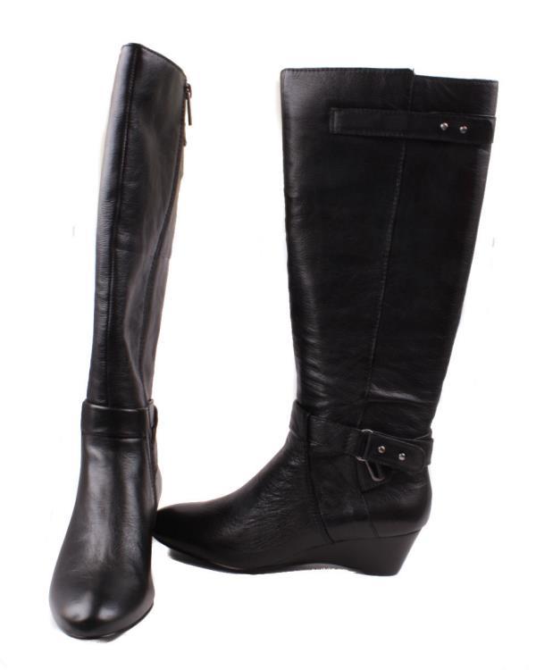 bandolino ajem womens black leather knee high zip up