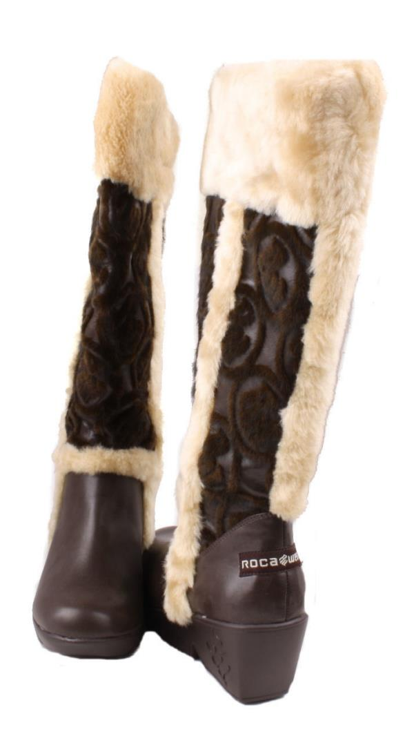 Details about Rocawear Elen Womens Brown Knee High Wedge Boots