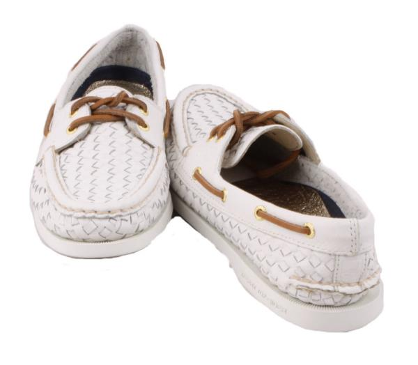 sperry top sider a o womens white leather woven fashion