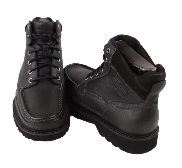 rockport dellvue mens black leather high top boots wide width