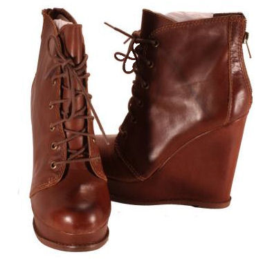 steve madden cognac thronne leather wedge boots womens