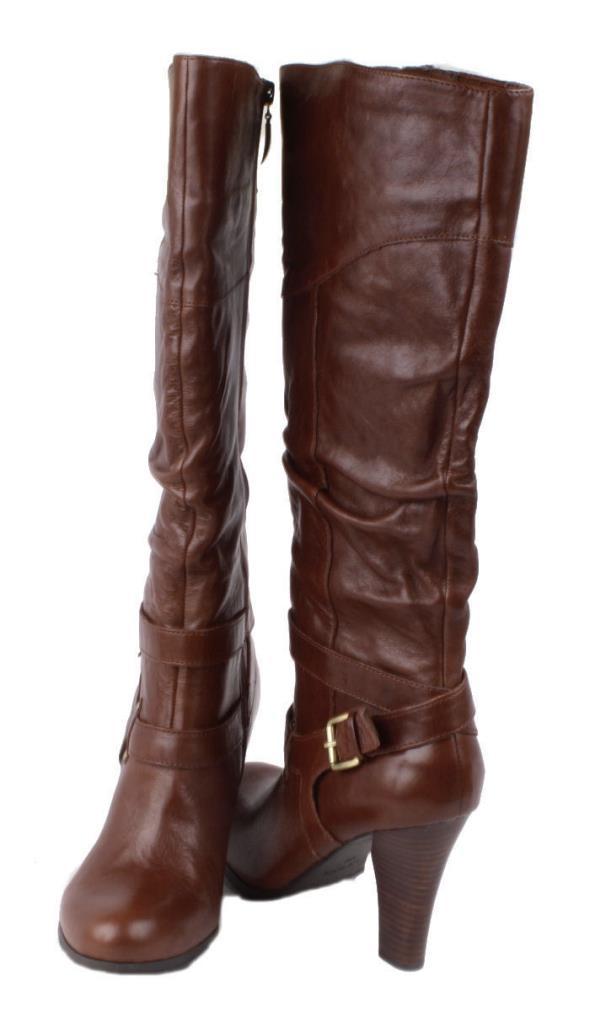 guess farnellis womens medium brown leather knee high heel