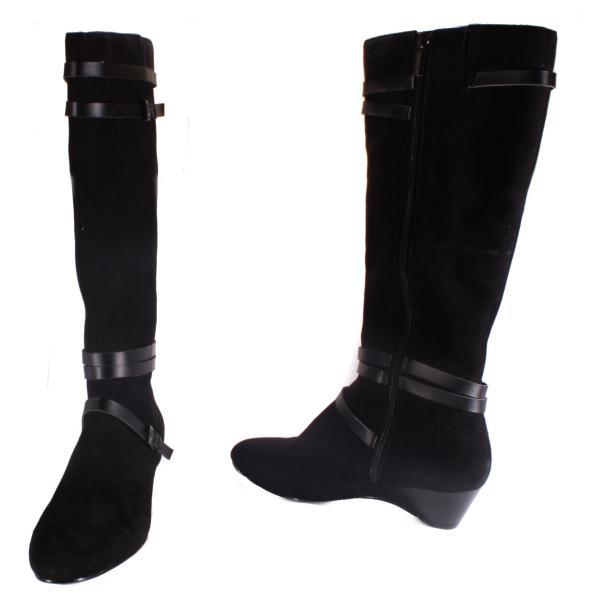 bandolino abrielle womens black suede knee high wedge