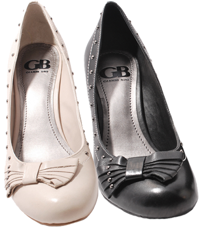 Gianni-Bini-Womens-Shoes-Black-or-Beige-Leather-Tea-Party-Heels-Pump