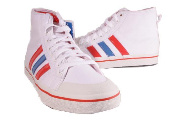 adidas white blue honey stripes mid sneakers