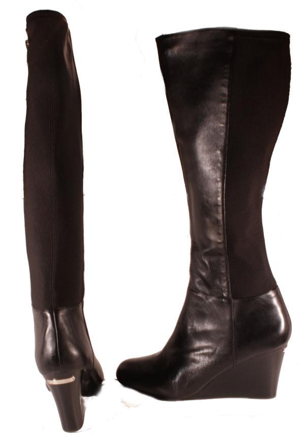 michael kors womens bromley wedge leather elastic black