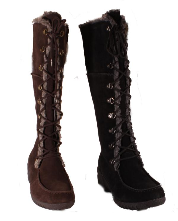 khombu saturn lace womens black or brown knee high