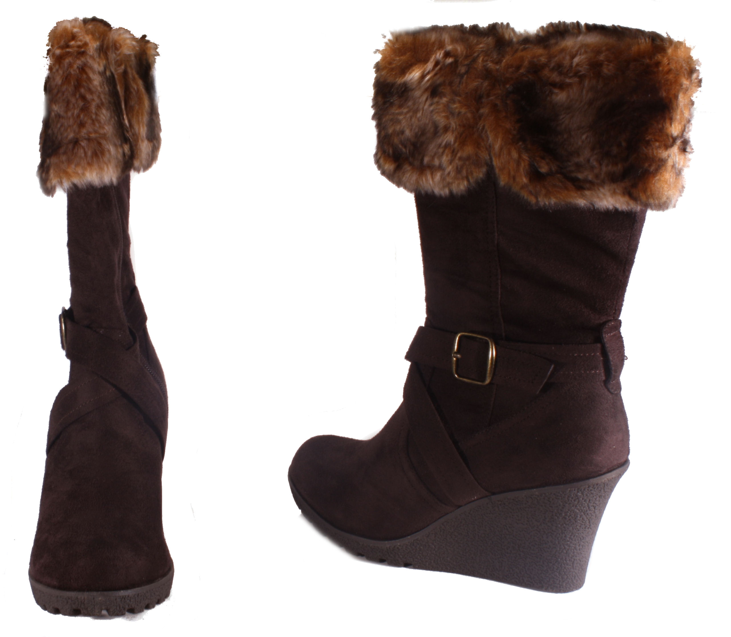 xoxo womens black or chocolate brown microsuede fur