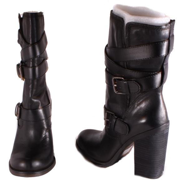 Jessica-Simpson-Tylera-Womens-Black-Skipper-Mid-Calf-Leather-Boots-Medium-Width