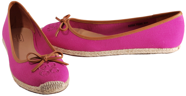 Coach-Womens-Shoes-Darcelle-Pink-Natural-Black-Canvas-Espadrille-Flats