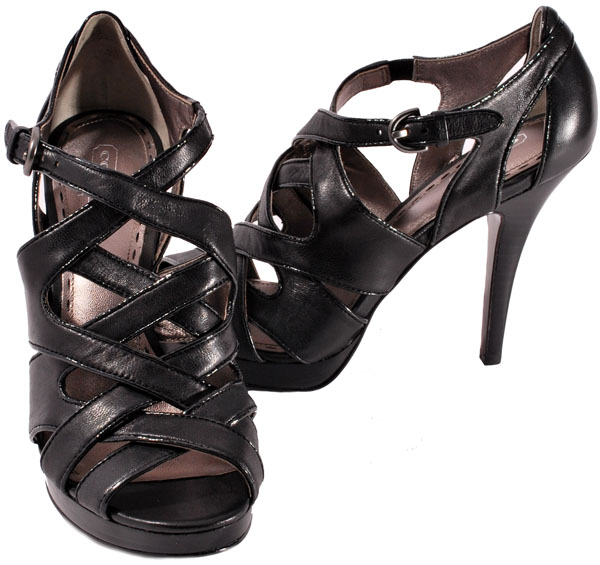 coach womens shoes black leather aenya platform heels ebay
