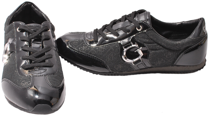Details about GUESS Womens Shoes Daini Black G Logo Canvas Sneakers