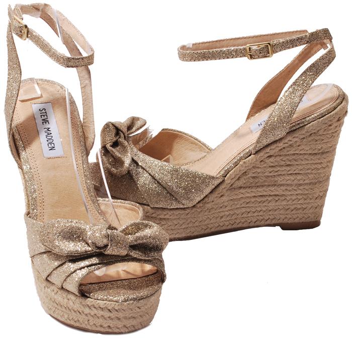 Steve Madden Black or Gold Glisten Glitter Platform Wedge Heels Womens