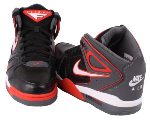 Nike Air Flight Falcon Mens Black White Dark Grey Red High Top Basketball Shoes